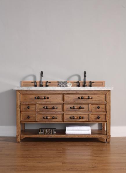 "Malibu 60"", James Martin Honey Alder Transitional Bathroom Vanity, Double Sink"