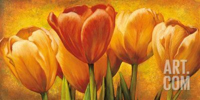 Bouquet of Orange Tulips Art Print by David Pedersen at Art.co.uk