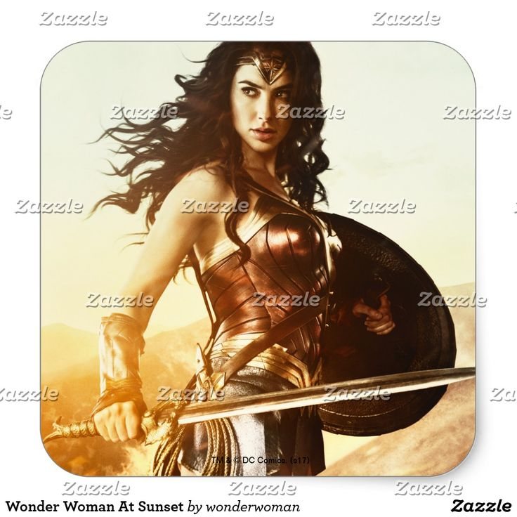 Wonder Woman At Sunset. Producto disponible en tienda Zazzle. Product available in Zazzle store. Regalos, Gifts. #sticker