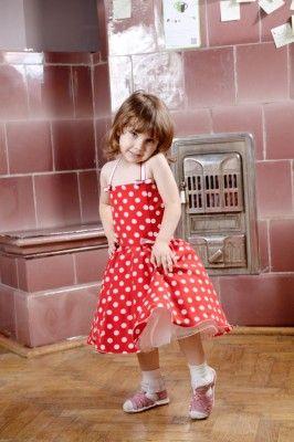 Rochita eleganta rosie cu buline pentru fetite | Zizette
