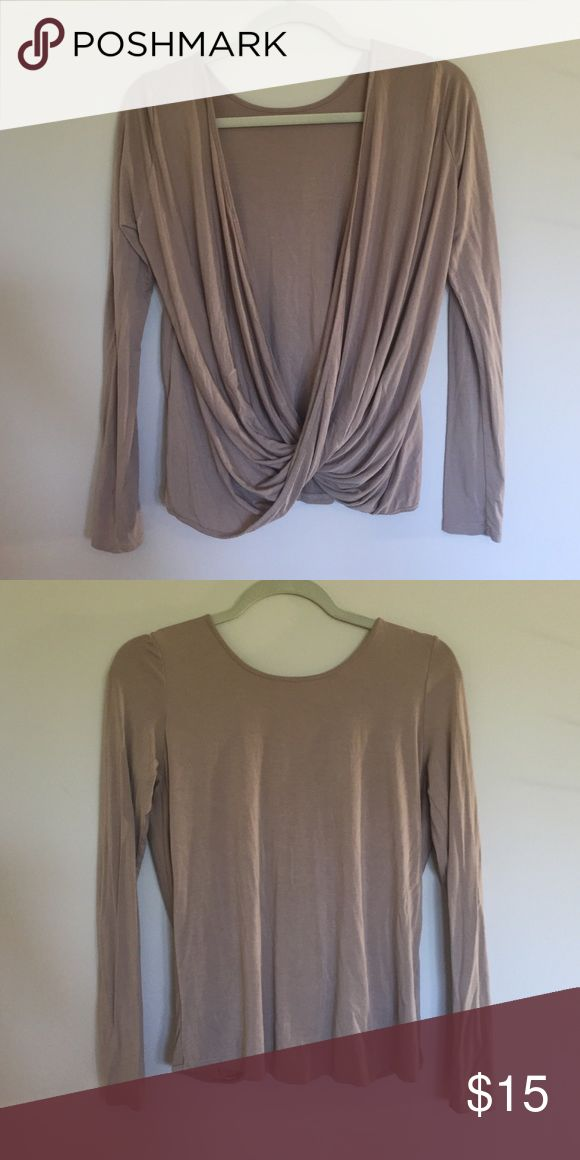 Scooped back Long Sleeve Nude shirt with an almost backless design, worn once Lulu's Tops Tees - Long Sleeve