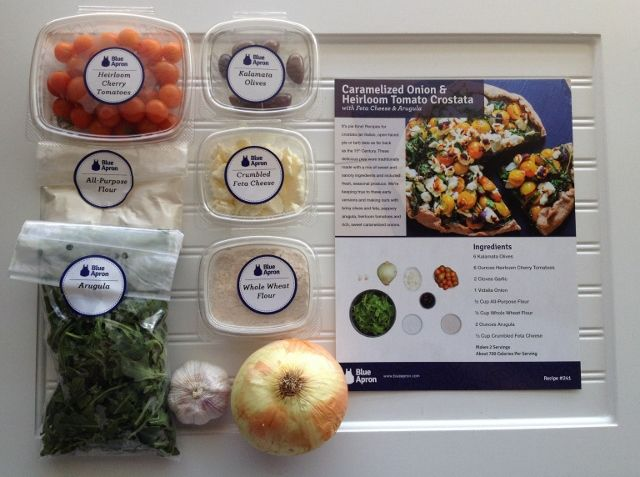 Blue Apron ingredients and recipe card. A once-a-week subscription service that provides recipes and ingredients to make 3 meals for the number of people you specify; 2 or 4.  Meals are $9.99 per person, so for a box of 3 meals it is $60. You can get a special deal on your first week - two free meals, so it'd cost $39.96 for 2 ppl or $49.94 for 4 (normally $69.94). Delivery is free.