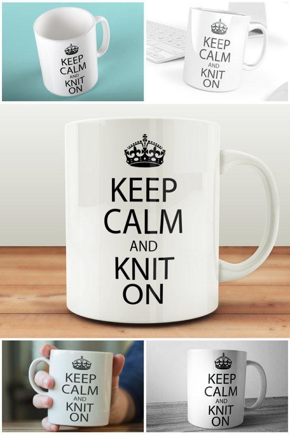 Keep Calm And Knit On Mug Craft Gift For Knitters  #keepcalm #kniton #knittinggift #knittergift #craftgift #prandski