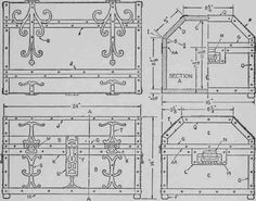 Top, front, and two end views of an ornamental treasure chest. The fittings may be thin plywood, wall hoard, linoleum, gesso, sheet lead, co...