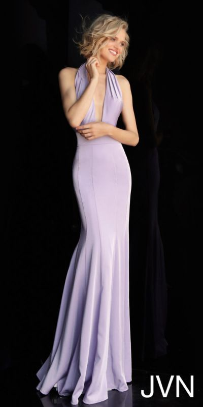 585ac736aec5 You'll be sure to draw attention in the sultry Backless Slinky Stretch  Jersey Halter Prom Dress from JVN by Jovani.