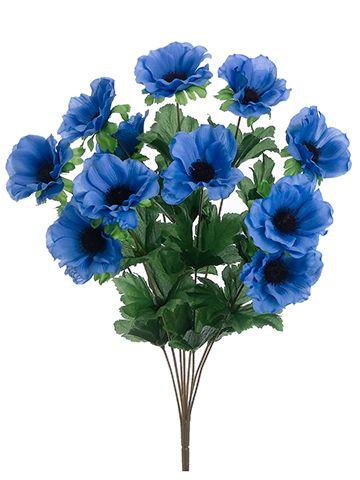 "Anemone Silk Flower Bush in Delphinium Blue - 18"" Tall"
