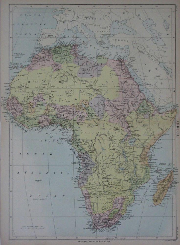 Africa Map Horn Of Africa%0A Original      Bartholomew AFRICA Kingdom Map Ashantee Benguela Slave Coast  Egypt