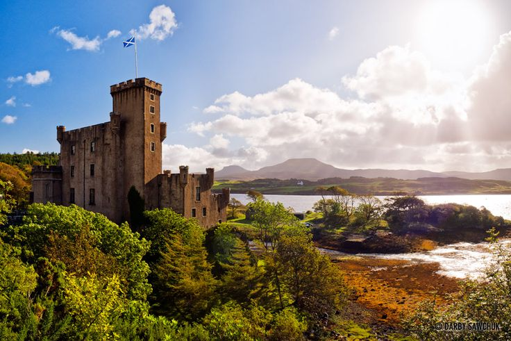Dunvegan Castle, looking across to MacLeod's Tables on the Isle of Skye, Scotland