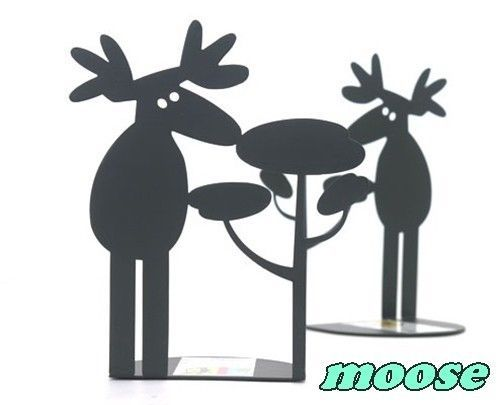 bookends,pair of sturdy black metal bookends (sold as a pair) steel moose. | eBay
