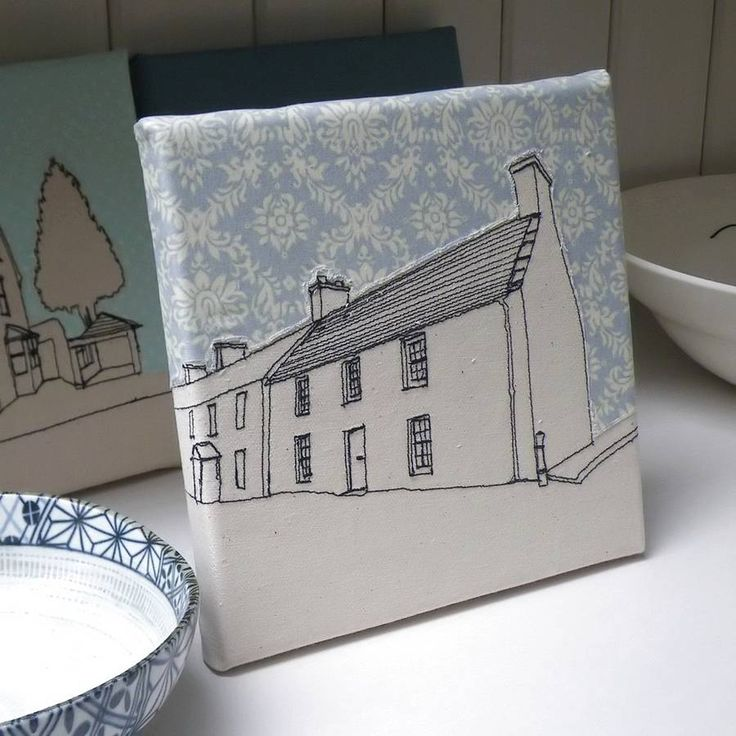 Embroidered house print - love the fabric sky!