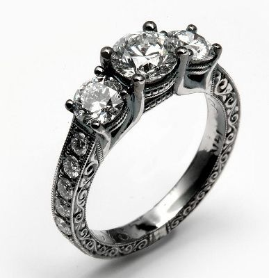 Engagement Ring with Black Rhodium Finish by Calla Gold Jewelry
