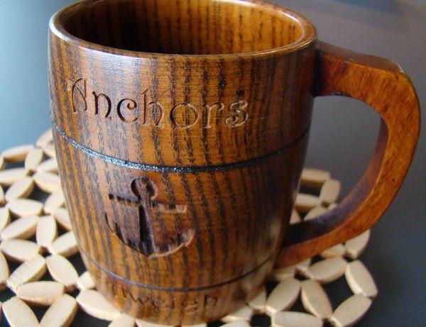 Custom Wooden Engraved Personalized Natural Wood 13.5oz or 400ml Beer Barrel Coffee Mug