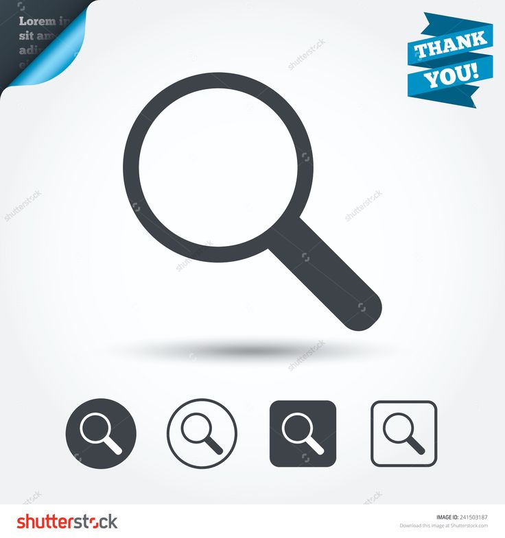 Magnifier glass sign icon. Zoom tool button. Navigation search symbol. Circle and square buttons. Flat design set. Thank you ribbon. Vector