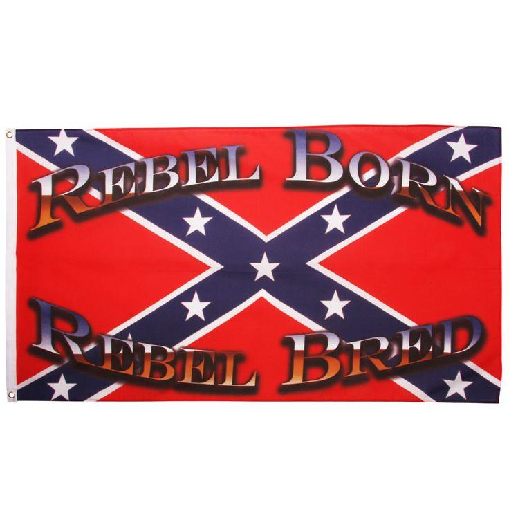 79,00 DKK  Amerikansk Sydstatsflag der er gennemfarvet med teksten REBEL BORN, REBEL BRED.