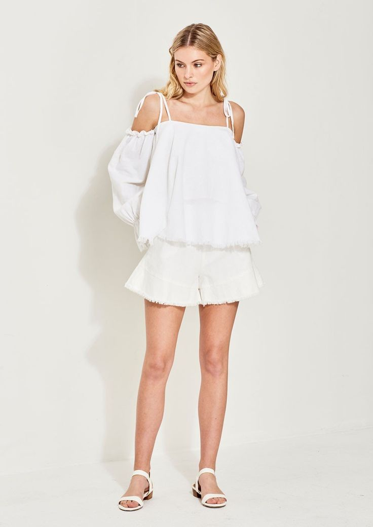 Imonni - Vera Linen Cotton Flared Top
