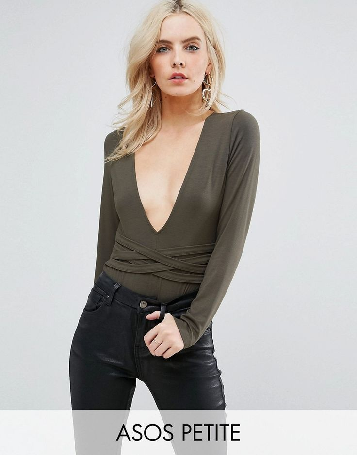 ASOS PETITE Body With Deep Plunge Neck And Waist Wrap Detail - Green