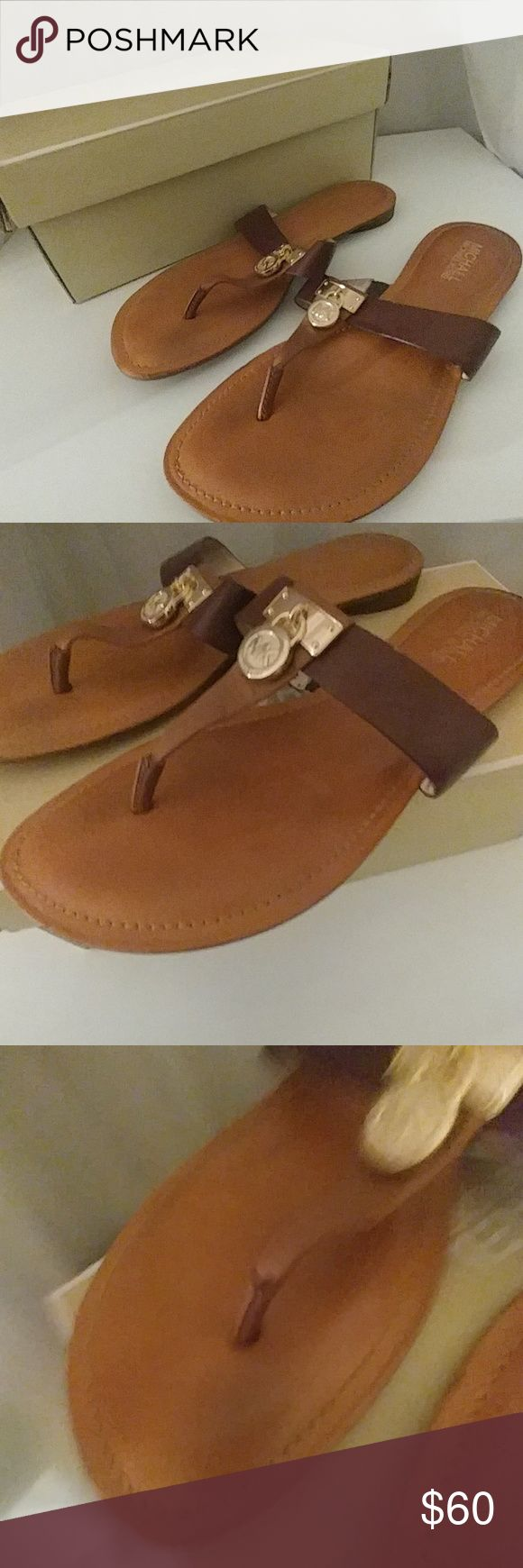 Gentle used MK flip flop thoug. Camel color MK Sandles. No box comes with Michael Kors Shoes Sandals
