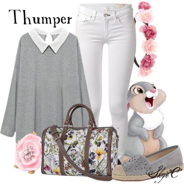 Thumper - Spring - Disney's Bambi by rubytyra on Polyvore featuring rag & bone, Franco Sarto, Gucci, Oscar de la Renta, Charlotte Russe, Thumper, Spring, disney, disneybound and bambi
