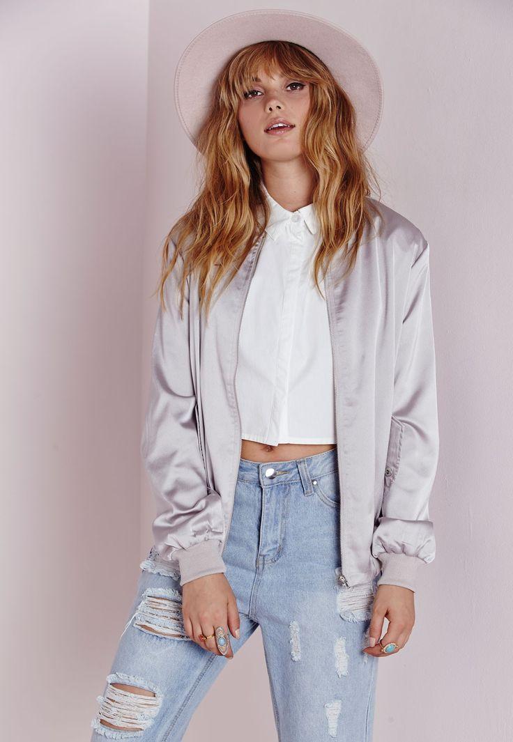 Silky Bomber Jacket Grey - Coats and Jackets - Missguided