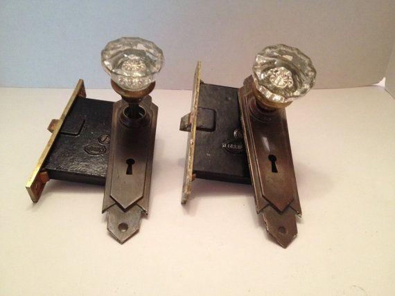 2 vintage glass door knobs with brass plate for closet door on etsy - Closet Door Knobs
