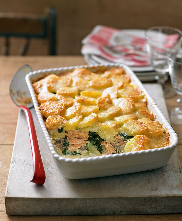 Salmon, spinach and potato bake - filling, budget-friendly recipe that will feed four generously – from Delicious magazine