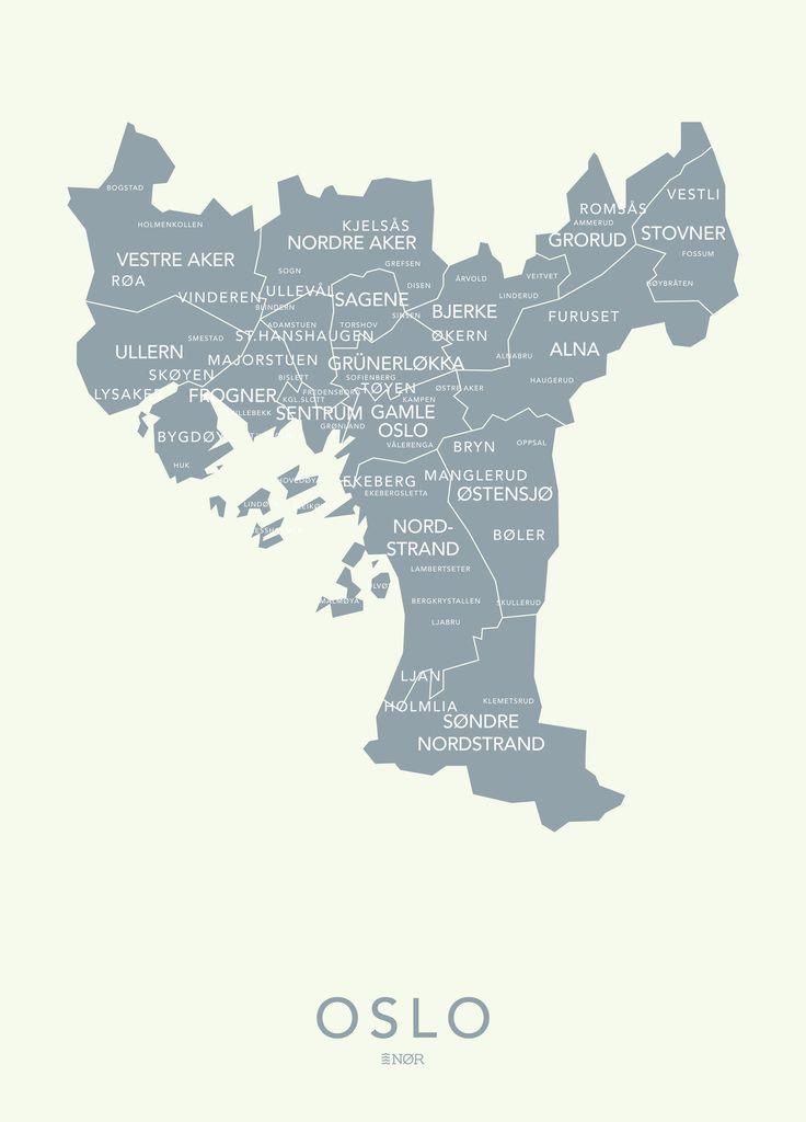 NØR - design av bykart Oslo kontur - blågrå | NØR