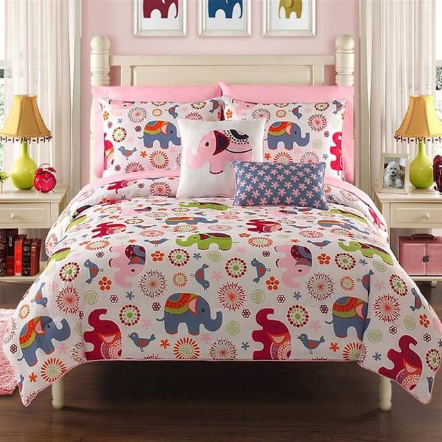 bed in a bag set comforter flowers elephants birds reversible floral side pink blue teen kids girls full twin bedding twin