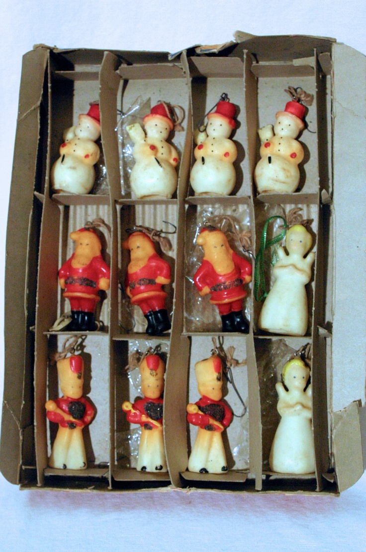 1940s 1950s vintage genuine goose egg diorama christmas ornament old - Set Of 12 Old Gurley Christmas Candles In Original Box