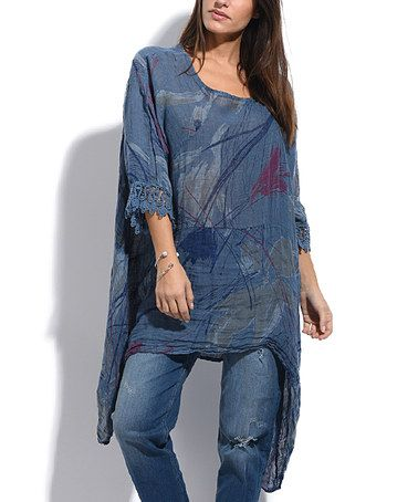 Look what I found on #zulily! Blue Anna Linen Sidetail Tunic - Plus Too #zulilyfinds