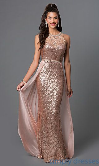 Shop long formal dresses and sequined evening gowns at Simply Dresses. Long mermaid dresses and pageant dresses with gems and sequins.