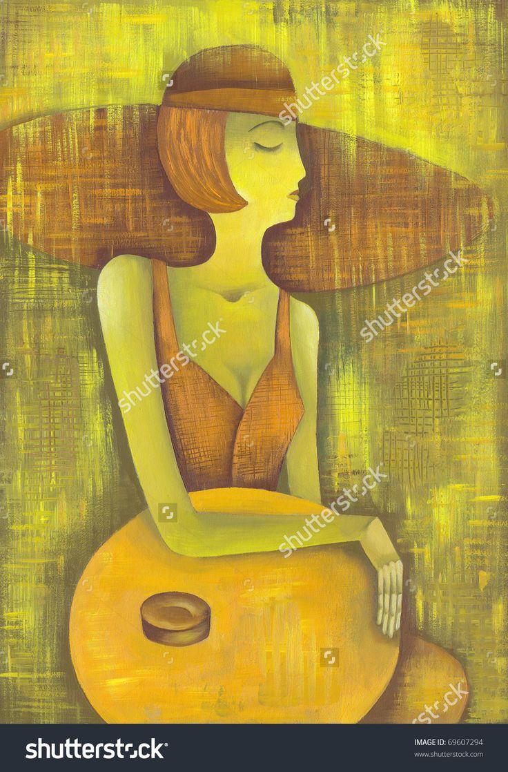 Beautiful Woman With Orange Hat by Eugene Ivanov. #eugeneivanov #elegant #woman #portrait #lady #painting #art #nude #cubism #girl #female #femina #@eugene_1_ivanov