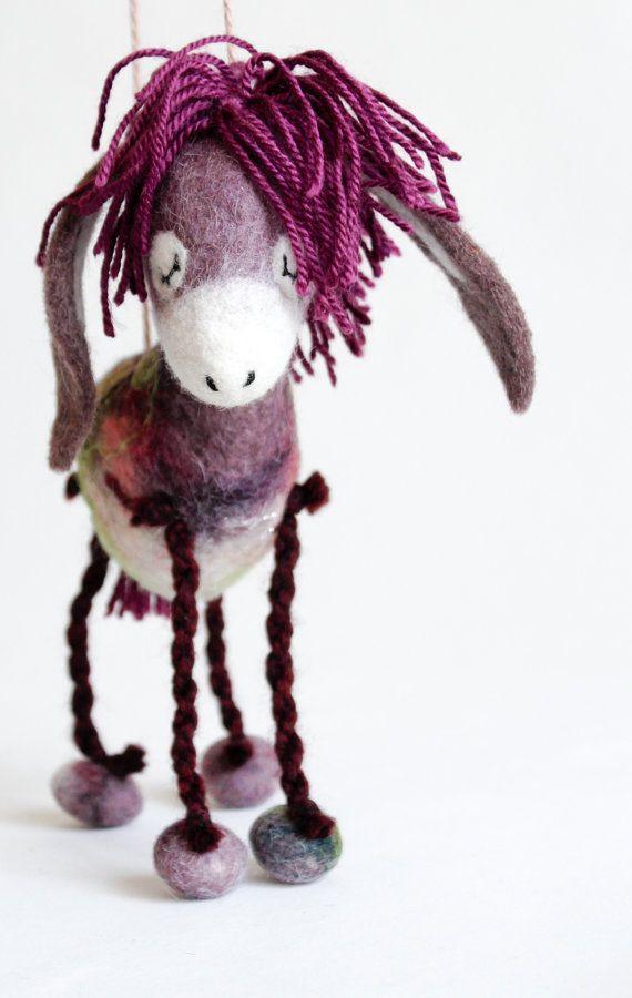Bertha  Felt Donkey. Art Toy. Felted Animal Soft by TwoSadDonkeys