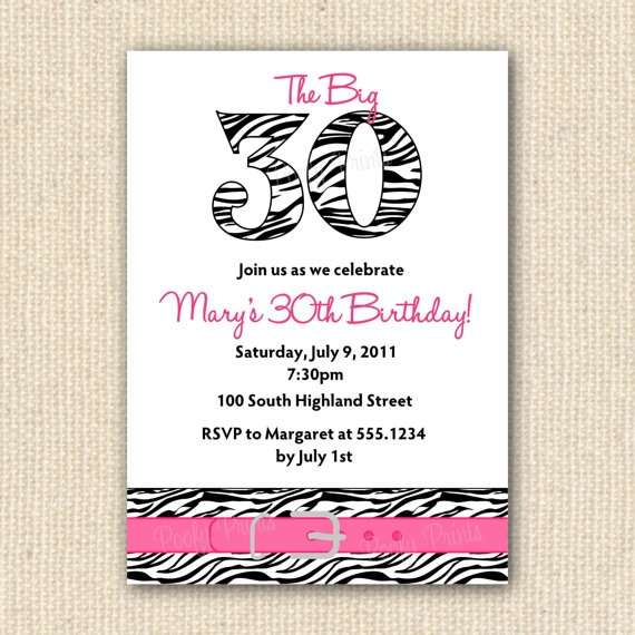 Zebra Print 30th Birthday Party Invitations - DIY Printable