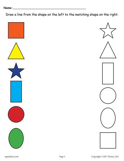 6 Shapes Matching Worksheets Shapes worksheets, Shape