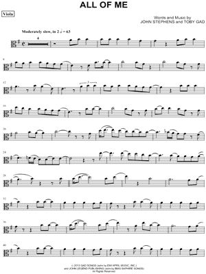 "John Legend ""All of Me - Viola"" Sheet Music - Download & Print"