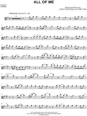 "John Legend ""All of Me - Viola"" Sheet Music - Download & Print"