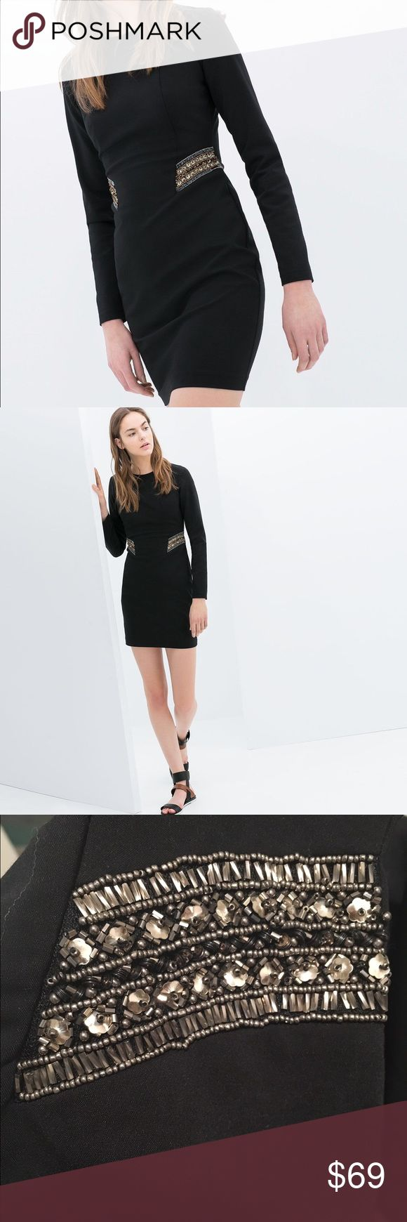The dress for sale - Zara Beaded Sequin Waist Midi Bodycon Dress Nwt Two Stocksequin Dressbodycon Dressdresses For Salethe