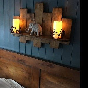 65cm Reclaimed pallet wood floating shelf / led candle ...