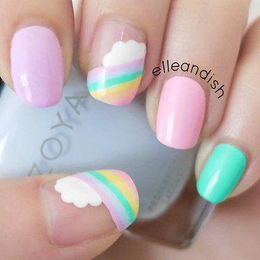 Easy Cloud Rainbow Nails nail art by elleandish