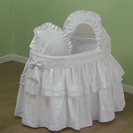 Pindot Bassinet Bedding Set - Color: White/Blue - http://www.strollersreview.net/pindot-bassinet-bedding-set-color-white-blue/