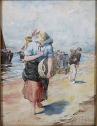 "Lot 414 M Andersail '98, watercolour, Dutch beach scene with fisherfolk, inscribed At Zandvaart Holland, signed and inscribed 11"" x 8"", est £80-120"