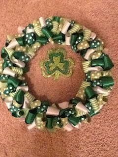 Love this ribbon wreath, but will change out the shamrock - I will make this!