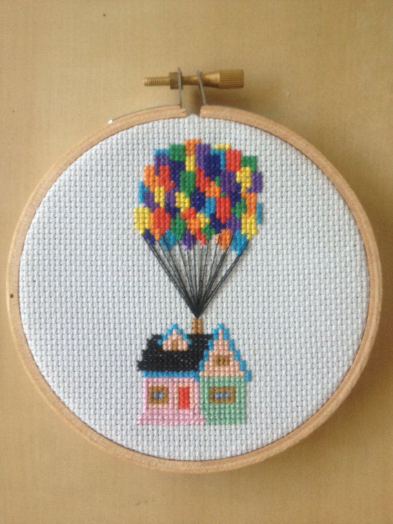 Up is one of the best Disney movies of all time. Fact. Show your love with this adorable cross stitch of the house in flight!  This pattern is my best seller for good reason! It is super easy to stitch and looks fantastic when finished! It would be perfect in a baby room or just anywhere!  This is for a pattern PDF so you can sew your own version of the house with balloons. The pattern is based on DMC threads. I recommend using a light blue 16 or 14 count Aida as this fits nicely into a 4…