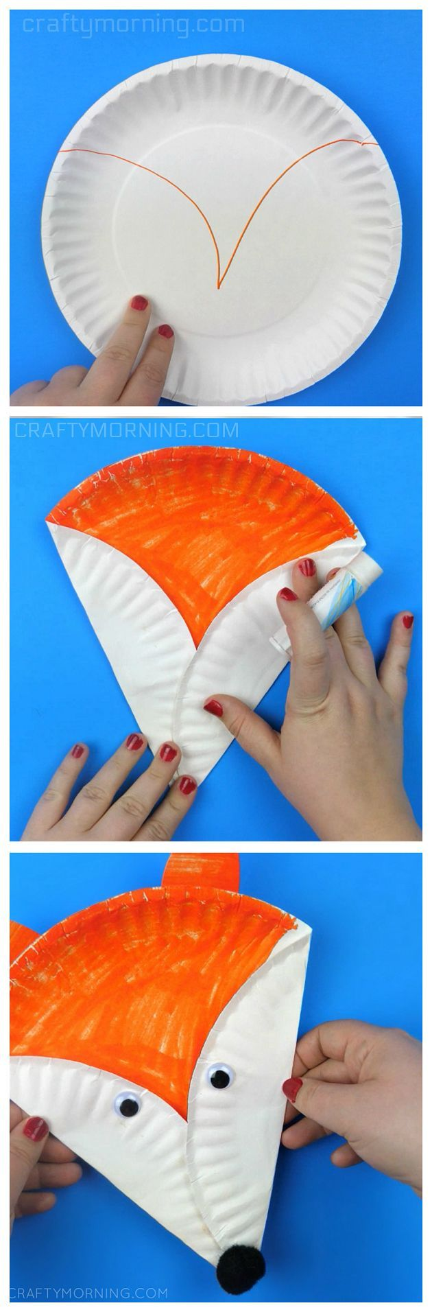 Paper plate fox craft for kids! Such a cute and easy woodland animal art project.
