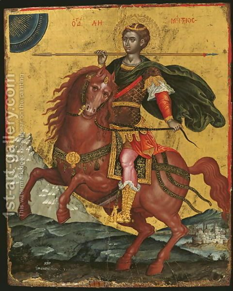 Αγ.Δημητριος Ο Μυροβλυτης (; - 306) _ oct 26 ( Icon of St Demetrios on Horseback, 1672 Emmanuel Tzanes | Oil Painting Reproduction | 1st-Art-Gallery.com
