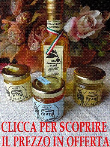 Confezione contenente una bottiglia di Olio Extravergine di Oliva da 100 ml + tre confezioni di miele di erica,millefiori,acacia da 40 g cadauna OFFERTA SPECIALE € 13,20 IVA INCLUSA