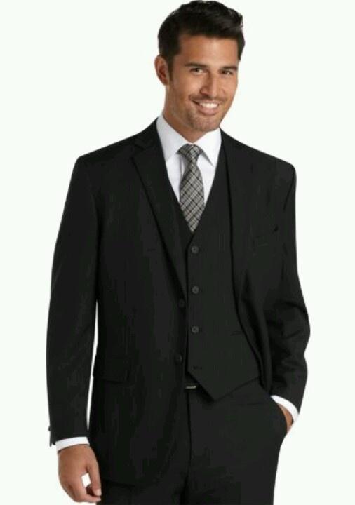 Groom attire, Black suit, with black vest, white shirt, patterned tie
