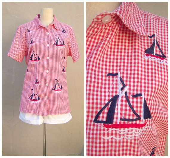 Vintage nautical blouse / red white cotton gingham by dahlilafound, $29.00