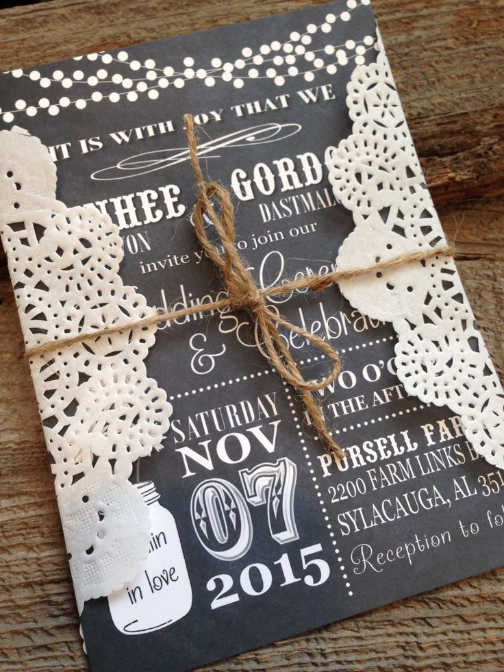 vintage doily wedding invitations%0A Vintage Wedding Invitation Rustic Wedding Invitation Country Chic Wedding  Invitation Chalkboard Wedding Invitation