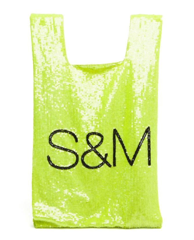 -Neon green sequin embroidered carrier style bag from Ashish. Black S&M motif. Cotton lining. Interior zip pocket.